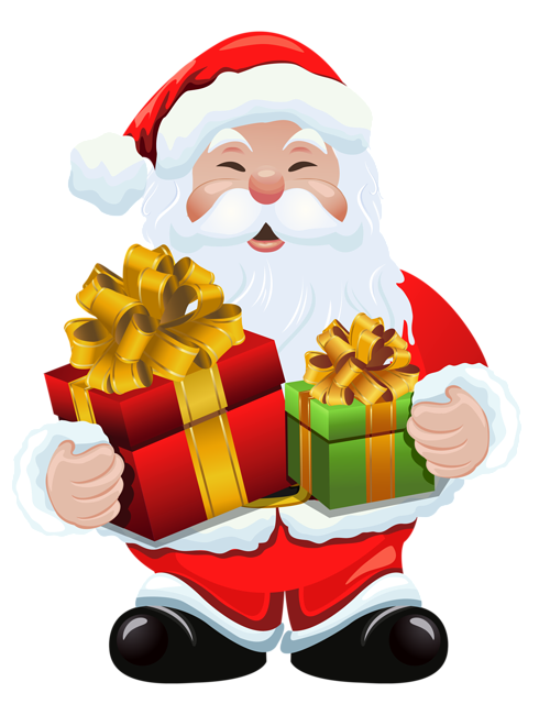 Snata claus with gift clipart