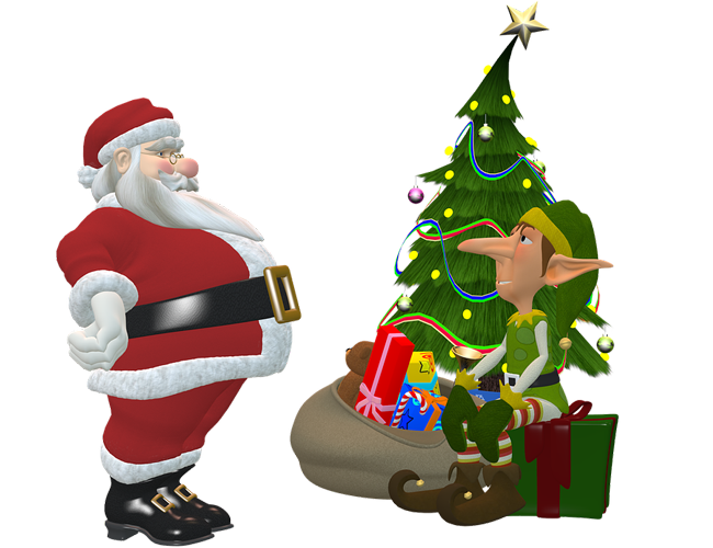 christmas tree and santa claus images PNG