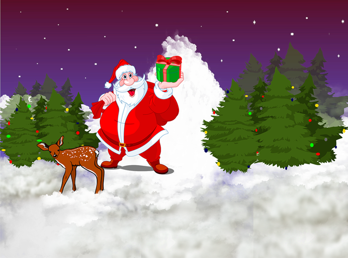 images of santa claus and christmas tree PNG